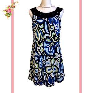 Enfocus Sleeveless Black Blue Green Print Dress 6